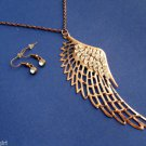 Brass Angel Wing Necklace Earrings set with Rhinestones