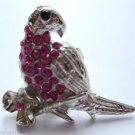 Silver Crystal Bird Parrot Cocktail Ring adjustable band Fuschia Pink