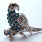 Silver Crystal Bird Parrot Cocktail Ring adjustable band Teal