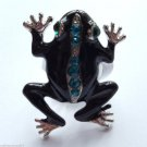 Black Epoxy Teal Crystal Silver Frog Cocktail Ring adjustable band