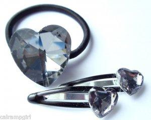 Crystal Heart Ponytail Holder Barrettes set gray prism