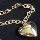 Large Gold Chunky Heart Charm Bracelet