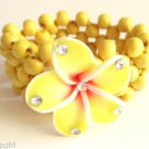 Yellow Plumeria Tropical flower Beaded Bracelet