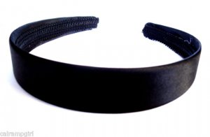 "Black Satin headband 1"" Wide"