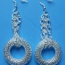 "Silver Mesh Chain Earrings 3"" long"