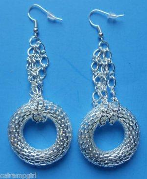 "Silver Mesh Chain Earrings 3"" long"