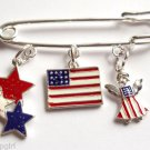 Patriotic Bar Pin USA Flag Stars Angel Charms