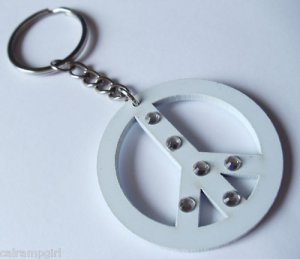 White Peace Sign Keychain