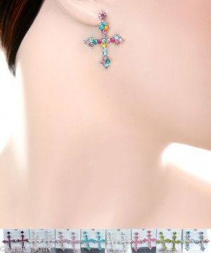 Crystal Cross Earrings silver assorted colors religious
