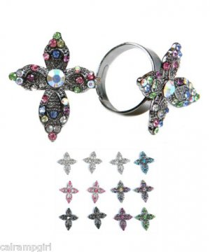 Crystal Cross Cocktail Ring adjustable band religious