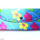 frangipani Plumeria Flower Wallet Ladies Clutch Blue