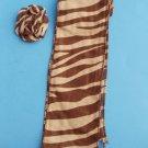 Zebra Print Scarf  hairclip sash headwrap 3 n 1 Brown