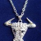 Silver Steer Bull Necklace Crystal rhinestones Cowgirl