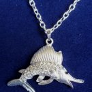 Silver Marlin Fish Necklace Crystal rhinestones