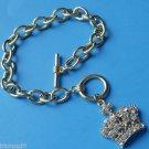 Gold Princess Queen Crown Charm Bracelet rhinestones