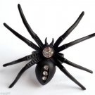 Large Black Metal Clear Crystal Spider Cocktail Ring adjustable band