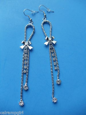 "4"" long Silver Bows Clear crystal Earrings"