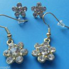 2 Pair Gold Flower Earrings with crystals