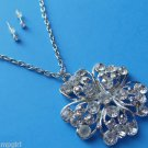 Flower Necklace Earrings set crystal Rhinestones Silver