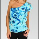 Tie Dye Blue silver One shoulder top shirt Size S M L