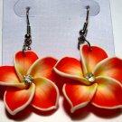 Red White frangipani Plumeria Flower Earrings