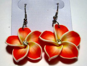 Red White frangipani Plumeria Flower Earrings