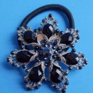 Black Snowflake Ponytail Holder / Brooch Crystal Stones