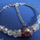 Purple Swirl Glass WIRE CUFF BRACELET