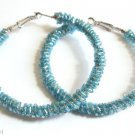 Blue Seed Beaded Hoop Earrings  2 1/2""