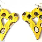 Large Yellow Silver Heart Fashion Earrings