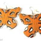 Large Orange Silver Butterfly Fashion Earrings