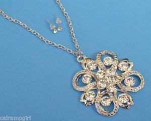Silver Flower Necklace Earrings set crystal Rhinestones