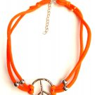Orange Peace Sign Nylon Stretch Choker necklace