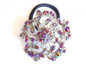 Red Flower Rhinestone Ponytail Holder / Brooch