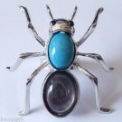 Ant Cocktail Ring adjustable band silver teal gray