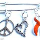 Peace Love Leukemia Awareness bar Pin Orange Ribbon