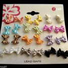 12 Pairs Mini bow Earrings assorted colors