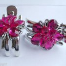 Pink flower Silver 3 Prong Jaw Clips Claw set 2