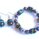 Black Glass Beaded Bracelet earrings set