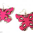 Large Pink Silver Butterfly Fashion Earrings