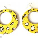 Large Silver Yellow Round Fashion Earrings