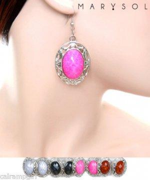 Oval Silver Marble Stone Earrings