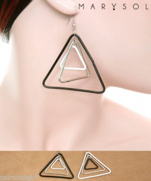 Triangle Dangling Earrings Black White Silver