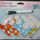 Rewriteable Dry Erase Magnets Set 4 with Marker Home Locker Office School
