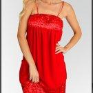 Red Bejeweled Satin Trim Dress Size S M L