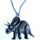 Silver Dinosaur Necklace Triceratops
