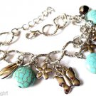 Silver Chain Charm Bracelet butterfly turquoise stones