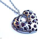 Large Antique Silver Heart Necklace purple crystal stones stars moon