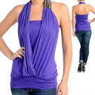 Purple Draped Shirt Top Size XS S M L XL