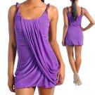 Purple Front Draped Dress Size S M L
